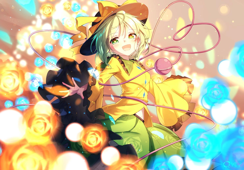 bai_yemeng bow flowers green_eyes green_hair hat komeiji_koishi ribbons rose short_hair signed skirt touhou
