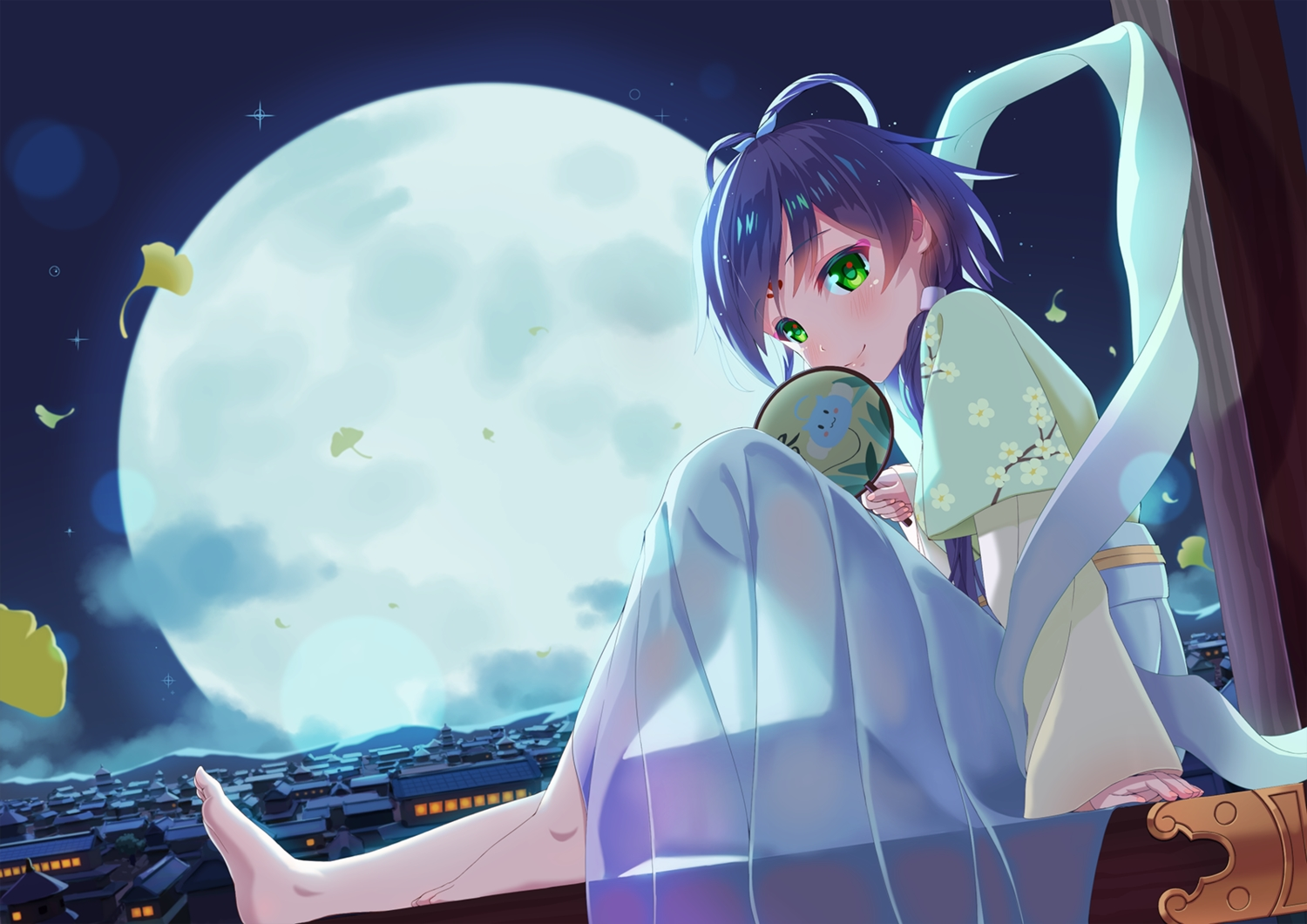 barefoot blue_hair building chinese_clothes city fan green_eyes luo_tianyi moon sky vocaloid vocaloid_china zongmao