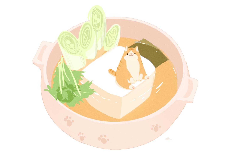 animal cat chai_(artist) food nobody original polychromatic signed third-party_edit white