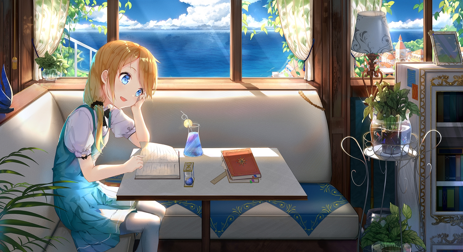 aqua_eyes blonde_hair blush book cg_(2686805355) couch dress drink flowers original ponytail