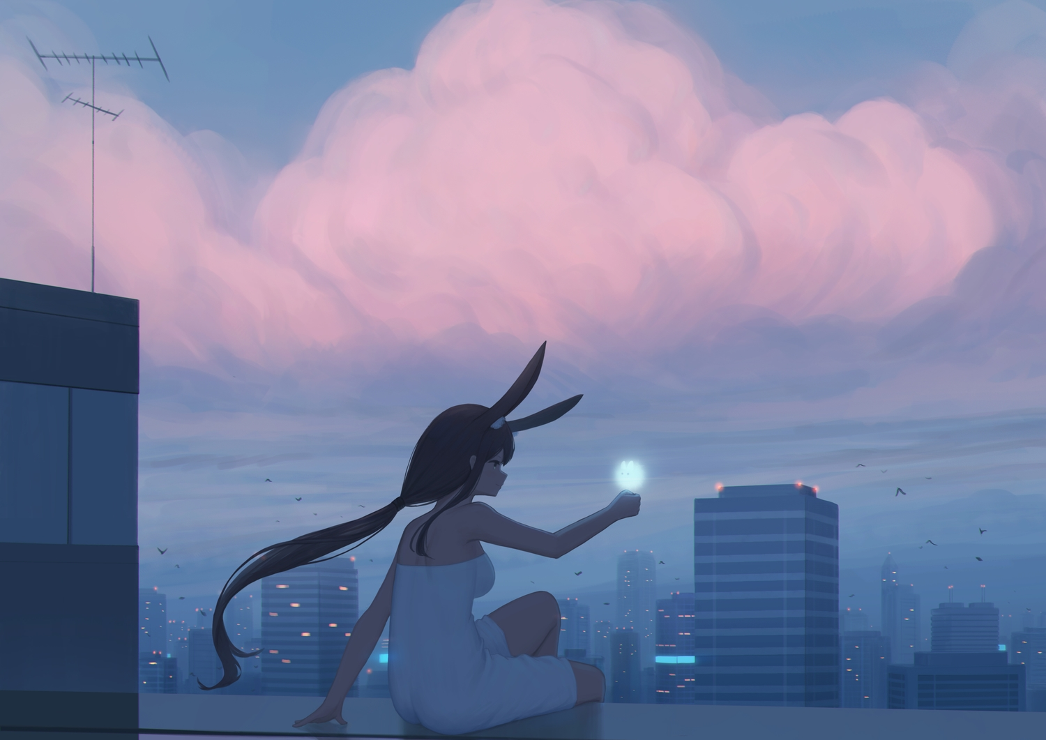 animal_ears building bunny_ears city clouds kamu_kame long_hair original ponytail rooftop sky sunset