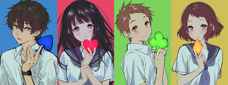 black_hair blue blush brown_hair chitanda_eru fukube_satoshi green heart hyouka ibara_mayaka long_hair male mery_(apfl0515) oreki_houtarou purple_eyes red short_hair yellow