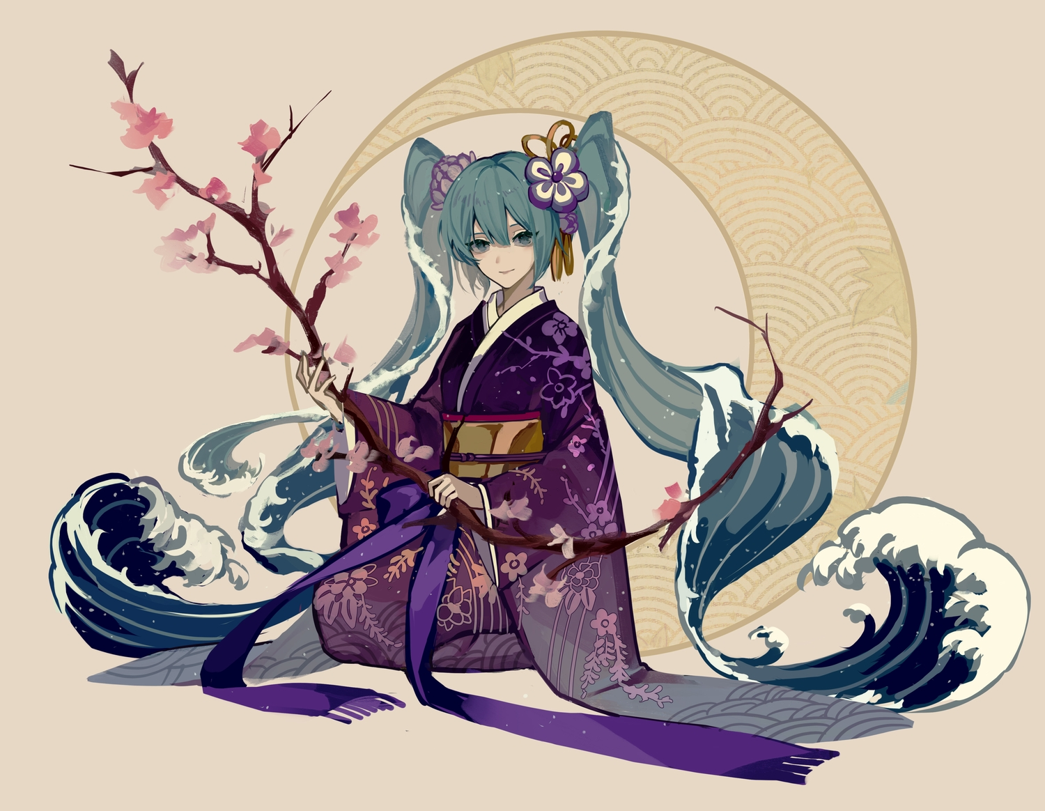 flowers green_eyes green_hair hatsune_miku japanese_clothes kazenemuri kimono long_hair moon ribbons twintails vocaloid water
