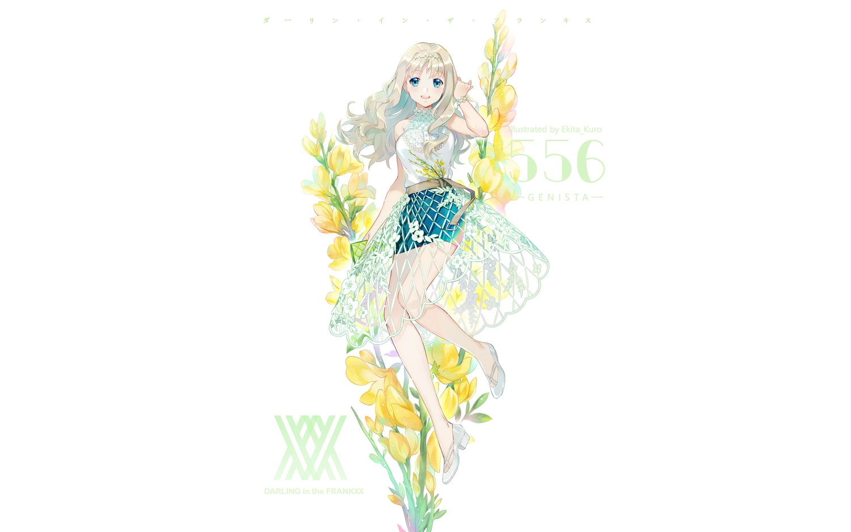 blonde_hair blue_eyes darling_in_the_franxx ekita_xuan flowers headband kokoro_(darling_in_the_franxx) long_hair skirt watermark white wristwear