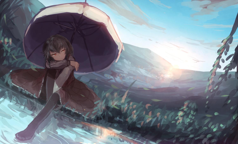 black_hair clouds dress kazami_yuuka mifuru orange_eyes pantyhose petals short_hair sky touhou umbrella water