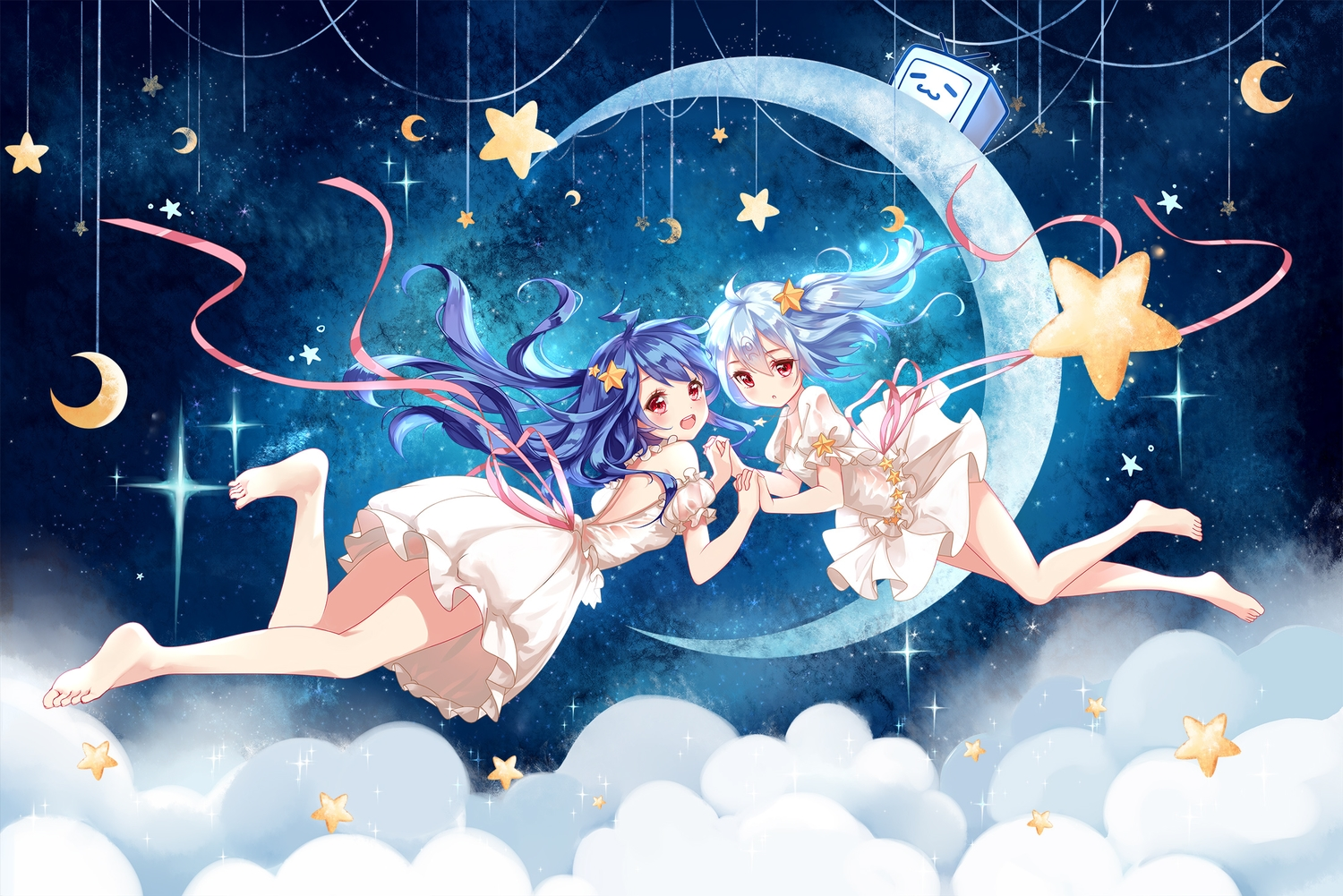 2girls barefoot bili_bili_douga bili_girl_22 bili_girl_33 clouble clouds dress long_hair moon ribbons stars