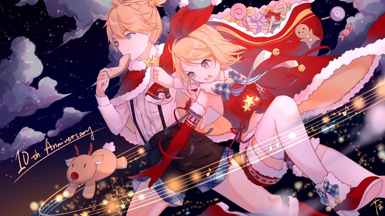 chaji_xiao_bai christmas kagamine_len kagamine_rin male santa_costume vocaloid