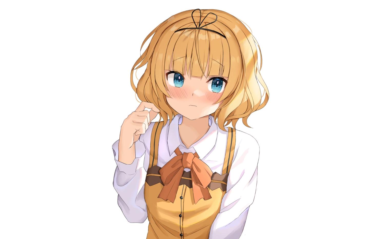 aqua_eyes blonde_hair blush bow close gochuumon_wa_usagi_desu_ka? headband kirima_sharo raru0310 shirt short_hair uniform white