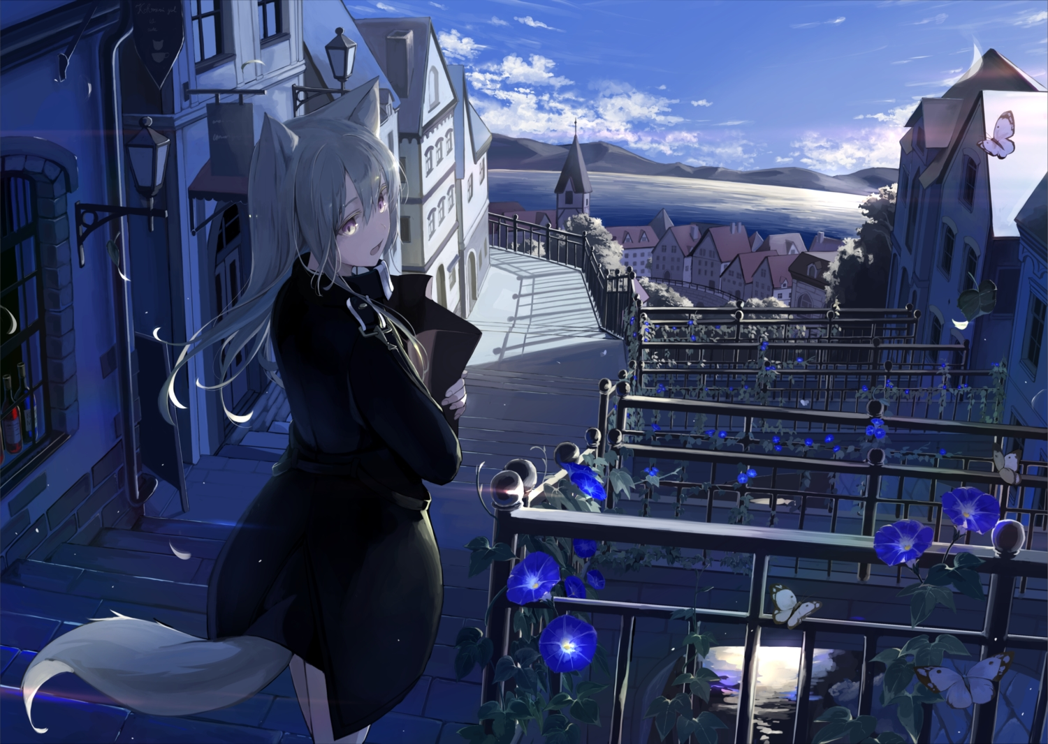 animal_ears butterfly clouds flowers gray_hair landscape long_hair mikisai original purple_eyes scenic sky tail