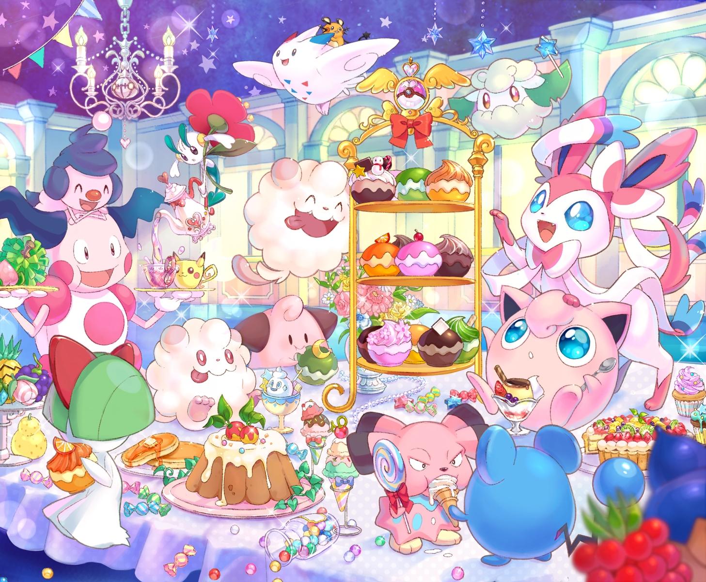 blue_eyes cake candy chandelure cottonee dedenne drink floette food fruit ice_cream marill mime_jr mr_mime pikachu pokemon ralts shiori_(xxxsi) slurpuff swirlix sylveon togekiss vanillite