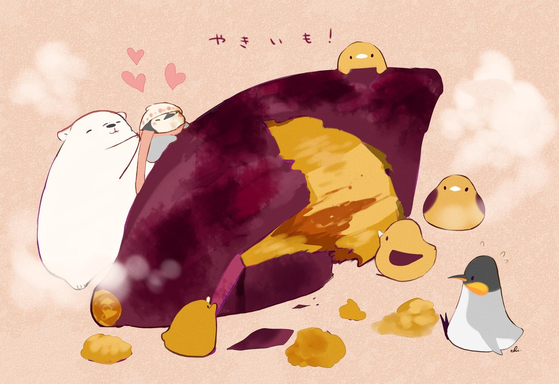 animal bear bird chai_(artist) food group hat heart nobody original penguin pink scarf signed translation_request