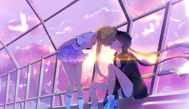 2girls kou_seiya marmalade_(elfless_vanilla) sailor_moon shoujo_ai sunset tsukino_usagi watermark
