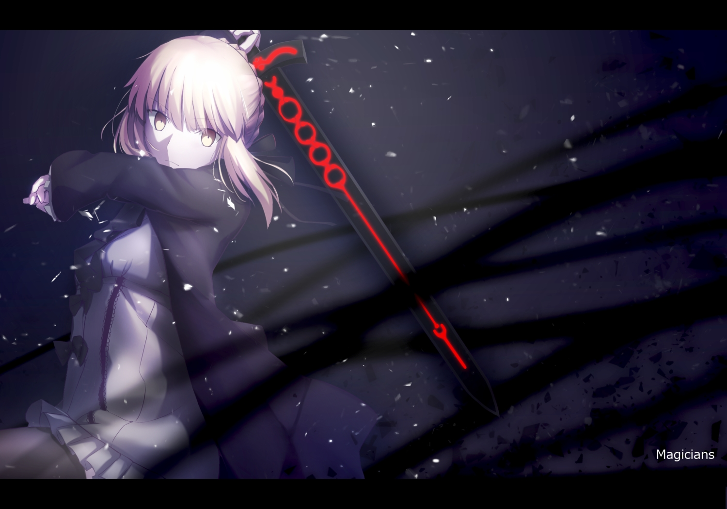 artoria_pendragon_(all) blonde_hair fate_(series) fate/stay_night fate/unlimited_codes magicians pantyhose polychromatic saber saber_alter sword watermark weapon yellow_eyes