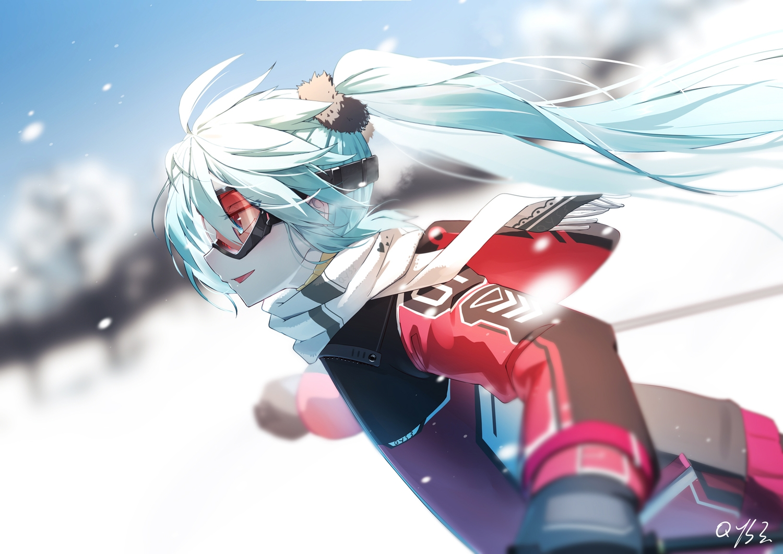 aqua_eyes aqua_hair bai_yemeng goggles hatsune_miku scarf signed snow sport vocaloid
