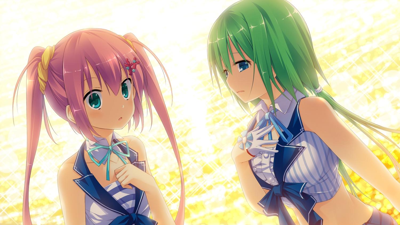 2girls blue_eyes game_cg green_hair kaku_konami koisuru_natsu_no_last_resort long_hair mottsun pink_hair pulltop short_hair tsukumi_sango twintails water
