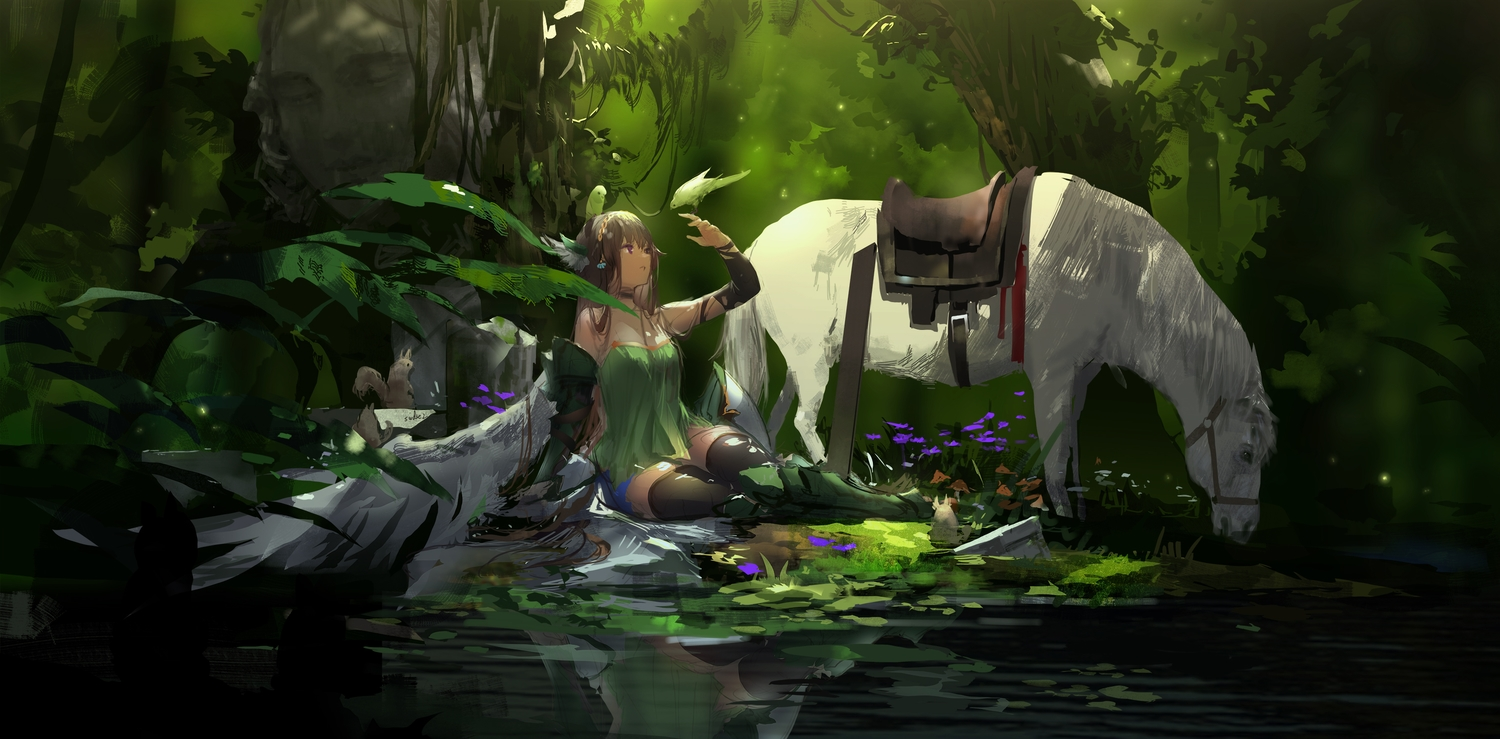 animal bird forest green horse reflection signed sketch swd3e2 thighhighs tree tyrca venus_blood venusblood-frontier- water wings