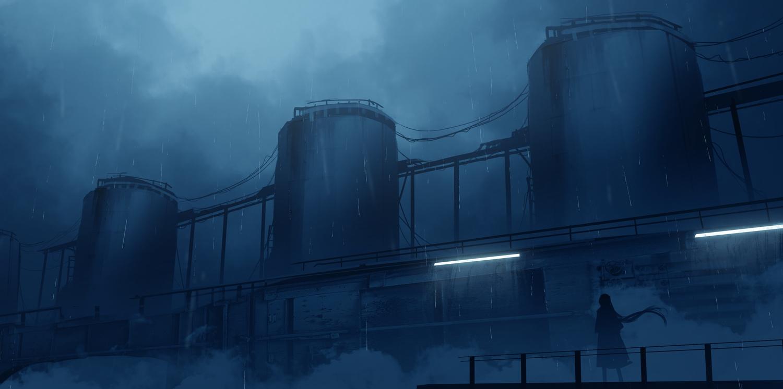 asuteroid iz_(asuteroid) long_hair original rain scenic silhouette water