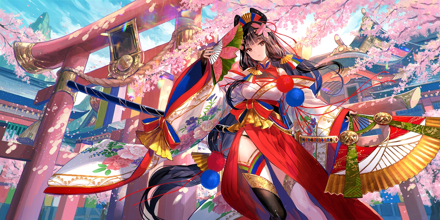 ark_journey brown_eyes brown_hair building cherry_blossoms clouds fan flowers fuji_choko japanese_clothes katana long_hair rope sky sword thighhighs torii tree weapon