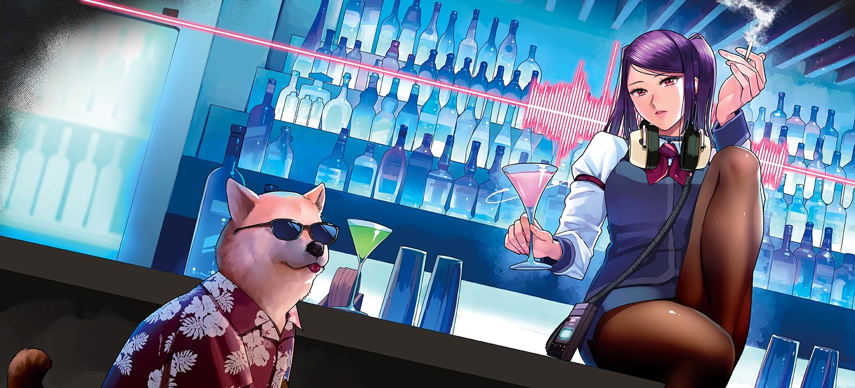 animal cigarette dog drink headphones jill_stingray pantyhose pao_(otomogohan) purple_hair red_eyes skirt smoking sunglasses twintails va-11_hall-a waifu2x