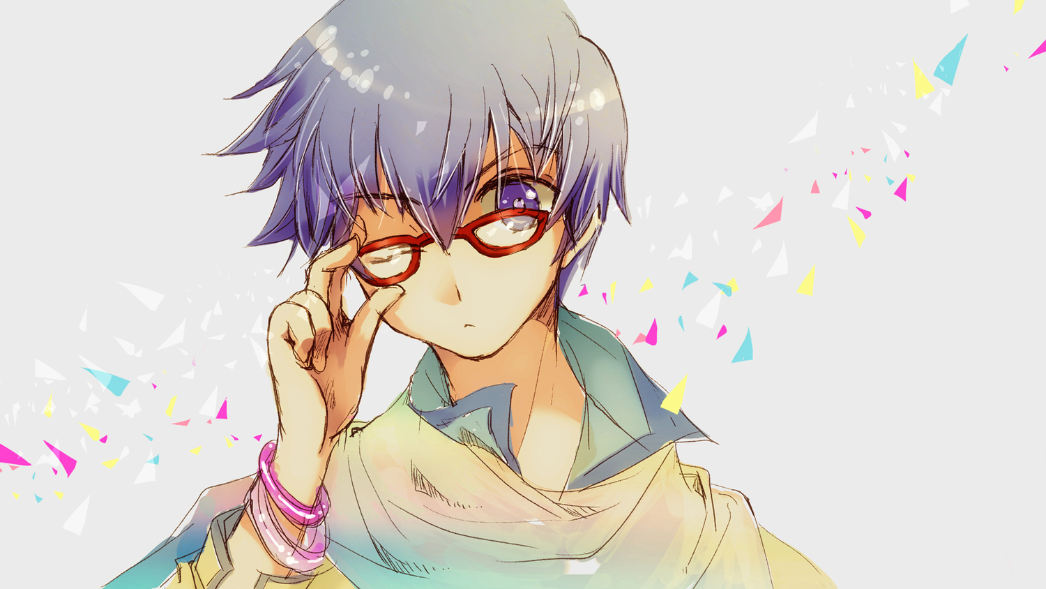 blue_eyes blue_hair close glasses kaito male vocaloid