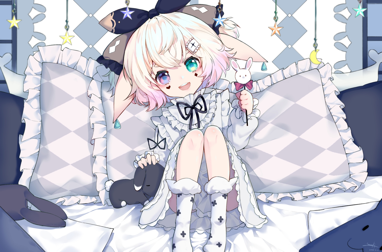 animal_ears bicolored_eyes bunny_ears bunnygirl candy dress loli lolita_fashion lollipop original short_hair signed snozaki