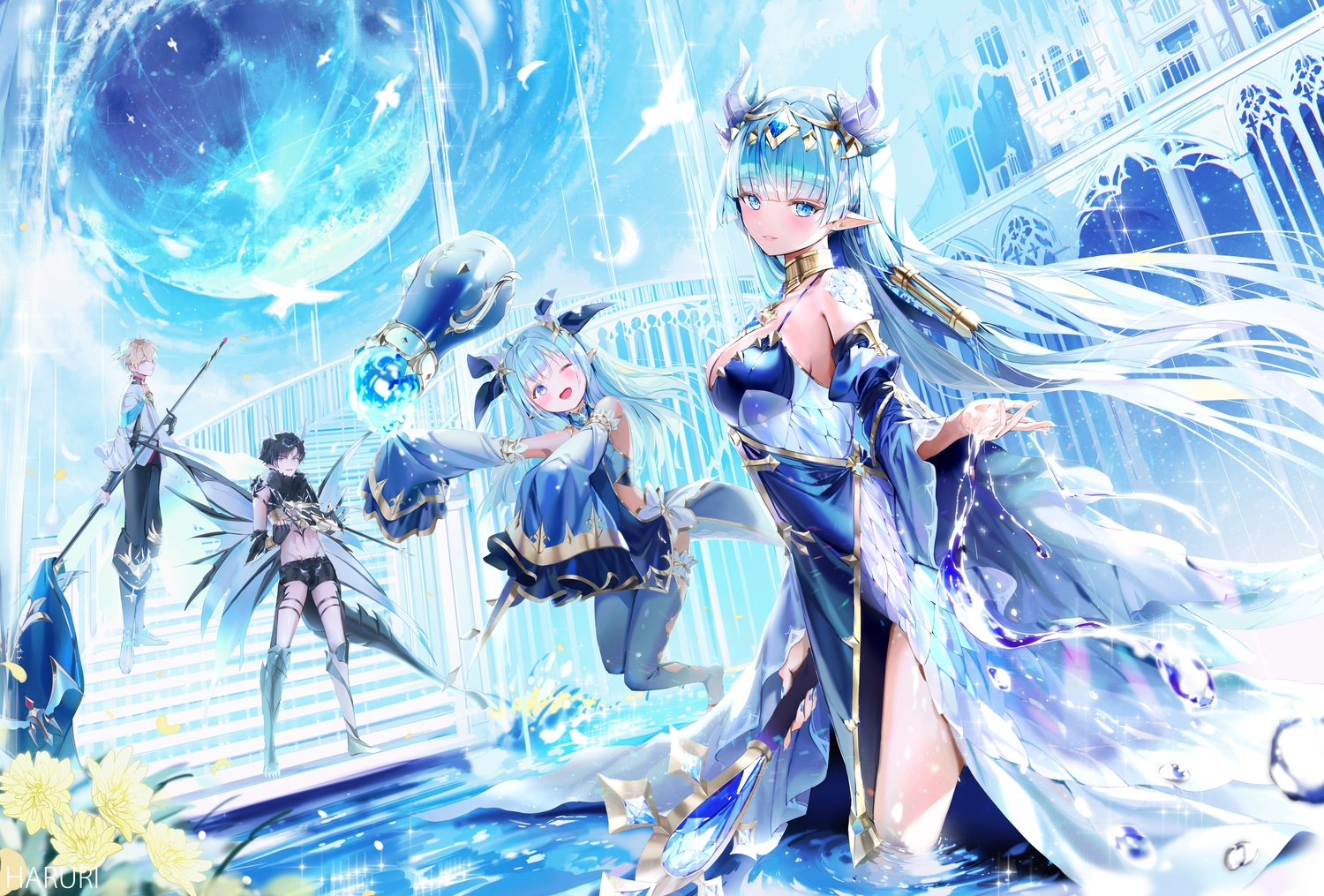 2girls aliasing black_hair blonde_hair blush bubbles building dress green_eyes green_hair group king's_raid laias_(king's_raid) lilia_(king's_raid) lucias_(king's_red) male mullpull neraxis_(king's_raid) pointed_ears short_hair staff stairs thighhighs water watermark weapon wings wink