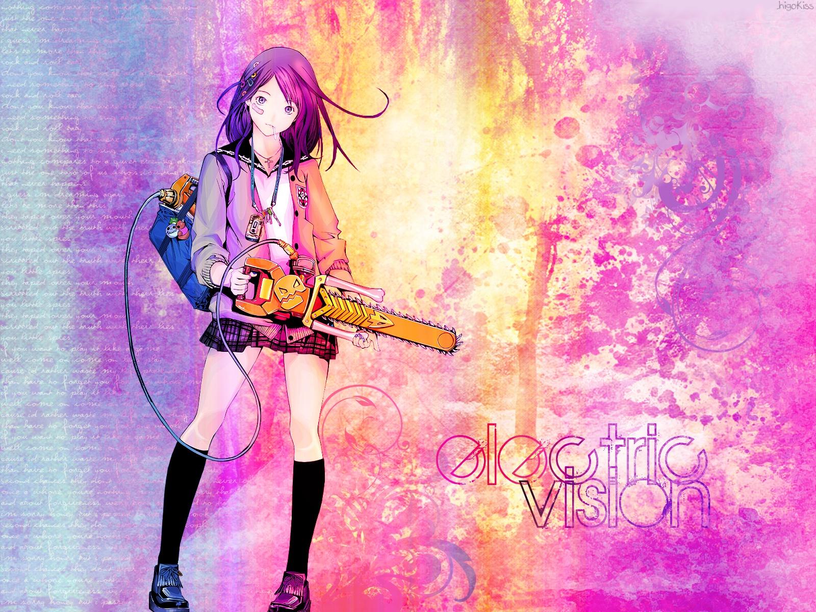 bandage chainsaw kneehighs long_hair necklace oh_great original phone purple_eyes purple_hair school_uniform skirt