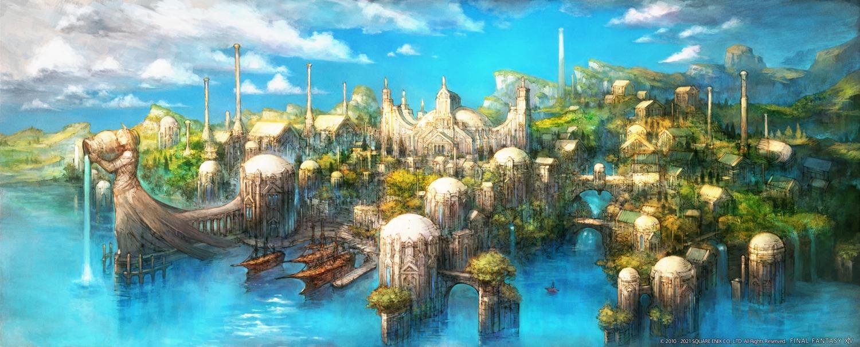 building city final_fantasy final_fantasy_xiv scenic square_enix water watermark