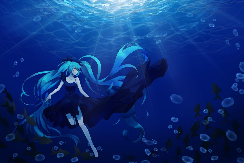 aqua_eyes aqua_hair blue deep-sea_girl_(vocaloid) hatsune_miku long_hair tagme_(artist) twintails underwater vocaloid water