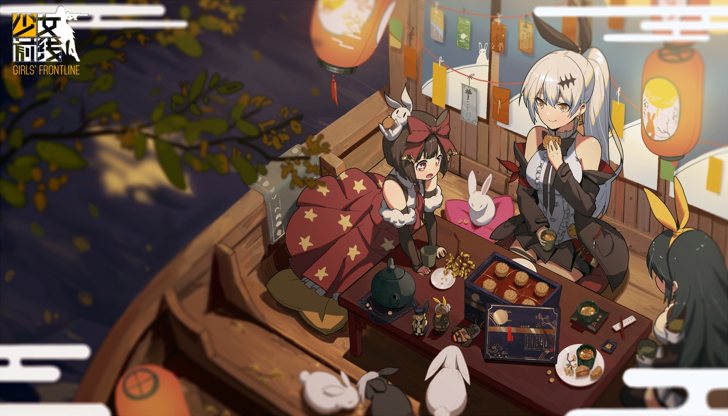 animal anthropomorphism black_hair boat brown_hair cetme_ameli_(girls_frontline) doll dress drink five_seven_(girls_frontline) food girls_frontline gray_hair headband logo long_hair m99_(girls_frontline) orange_eyes ponytail rabbit red_eyes short_hair skirt tagme_(artist) water