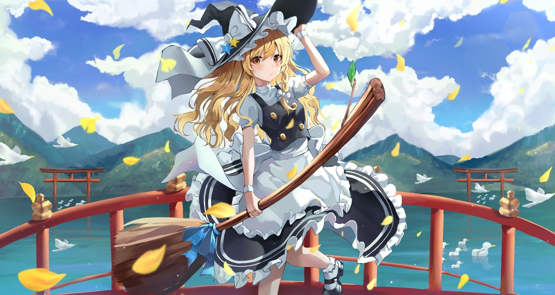 animal apron bird clouds hat kerno kirisame_marisa long_hair sky torii touhou water witch witch_hat
