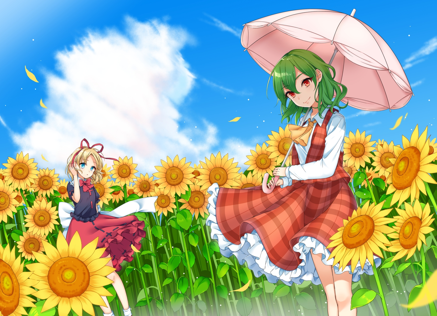 2girls aqua_eyes blonde_hair bow clouds dress flowers green_hair kazami_yuuka mameda11 medicine_melancholy orange_eyes petals ribbons short_hair sky sunflower touhou umbrella