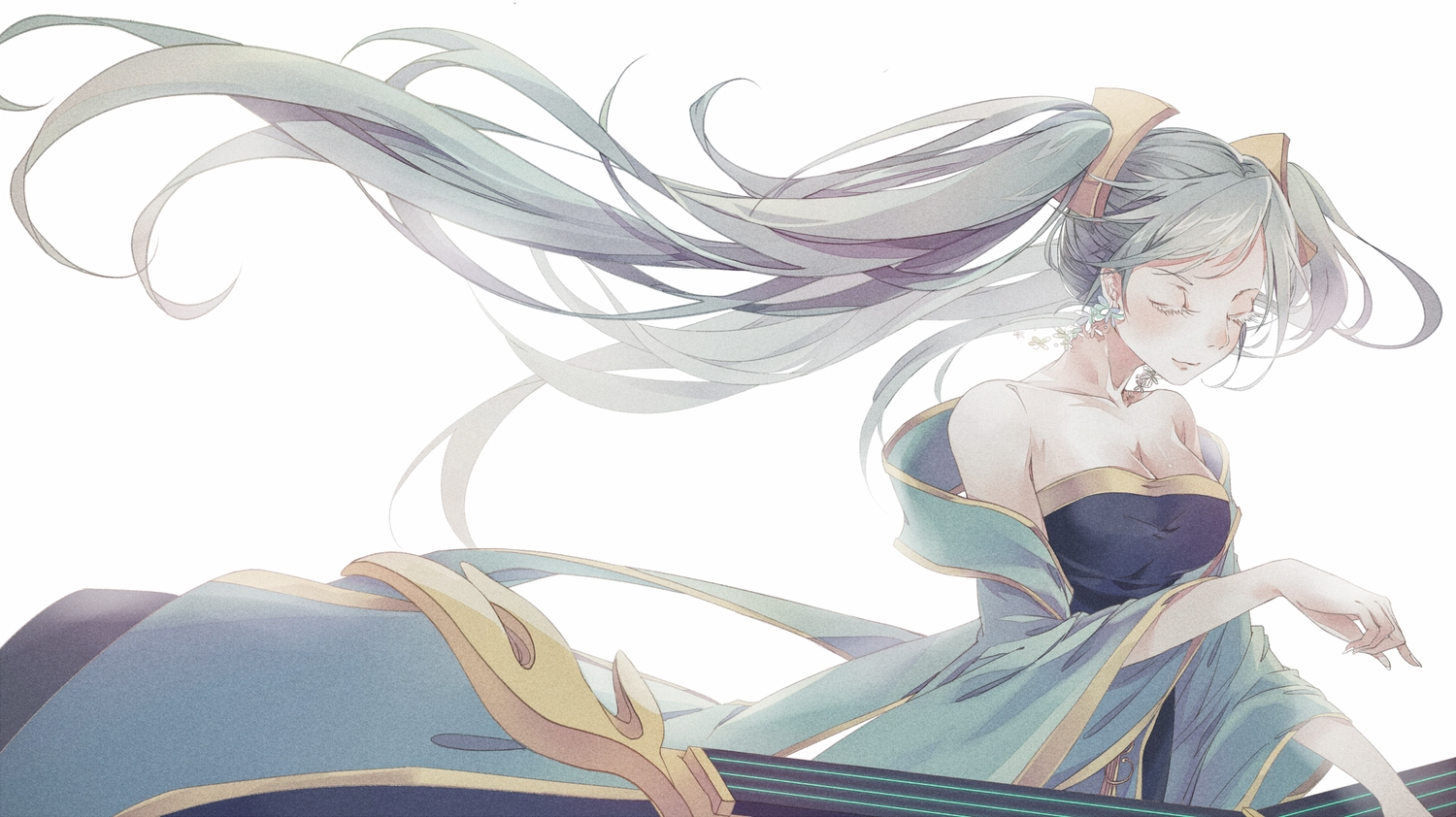 breasts cleavage dress eggnivia instrument league_of_legends long_hair sona_buvelle twintails white