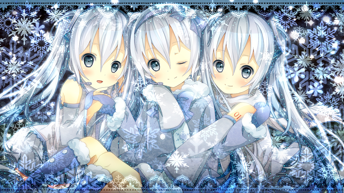 3girls blue_eyes hatsune_miku long_hair satou_(una-vittima) snow twintails vocaloid white_hair yuki_miku
