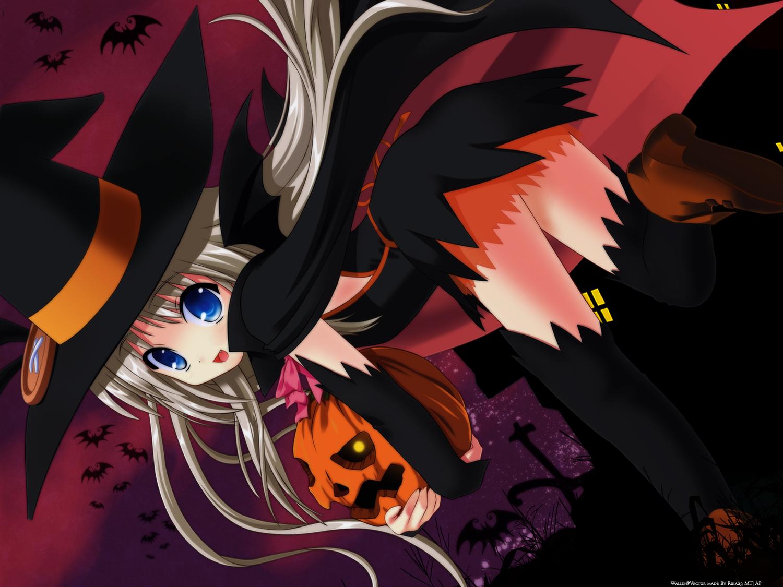 blue_eyes fang halloween little_busters! loli long_hair na-ga noumi_kudryavka pumpkin tagme vector white_hair witch