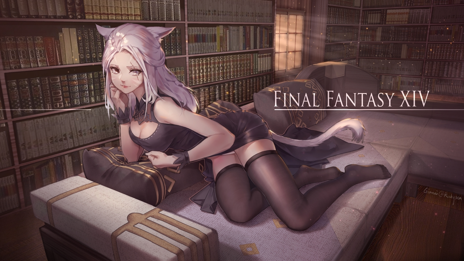 animal_ears bicolored_eyes breasts catgirl cleavage final_fantasy final_fantasy_xiv miqo'te scar signed tagme_(artist) tail thighhighs zettai_ryouiki