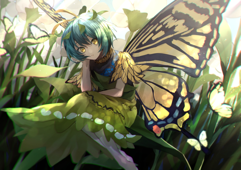 butterfly eternity_larva green_hair otoshiro_kosame short_hair touhou wings yellow_eyes