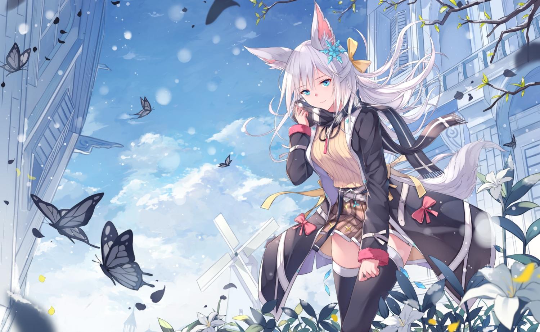 aliasing animal_ears building butterfly clouds flowers foxgirl green_eyes long_hair mikisai original scarf skirt sky tail thighhighs white_hair zettai_ryouiki