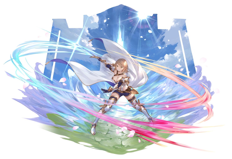 blonde_hair cangkong clouds gloves green_eyes original petals pointed_ears short_hair shorts sky sword weapon