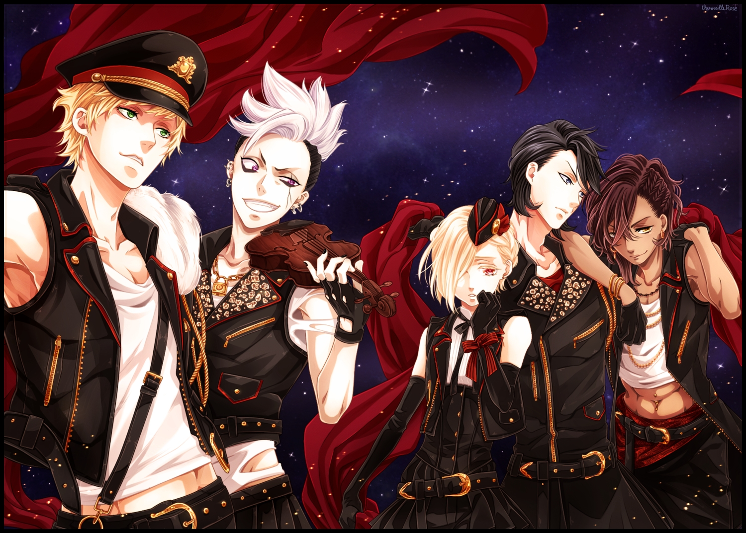 all_male blonde_hair brown_hair cheslock_(kuroshitsuji) clayton_(kuroshitsuji) dark_skin edward_midford gloves green_eyes group hat instrument joanne_harcourt kuroshitsuji male orange_eyes purple_eyes red_eyes red_hair soma_asman_kadar vermeillerose violin white_hair