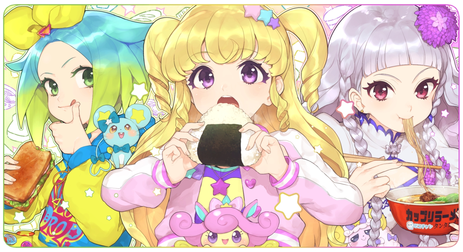 aikatsu! animal blonde_hair braids chinese_clothes chinese_dress food gray_hair green_eyes green_hair hitoto hoodie long_hair mouse necklace purple_eyes red_eyes short_hair tagme_(character) twintails