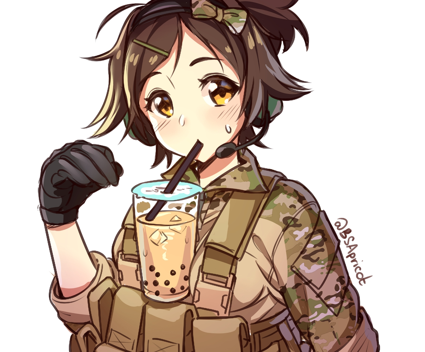 blush bow brown_hair cropped danielle_brindle drink gloves headphones microphone military original ponytail short_hair signed sketch uniform waifu2x white yellow_eyes