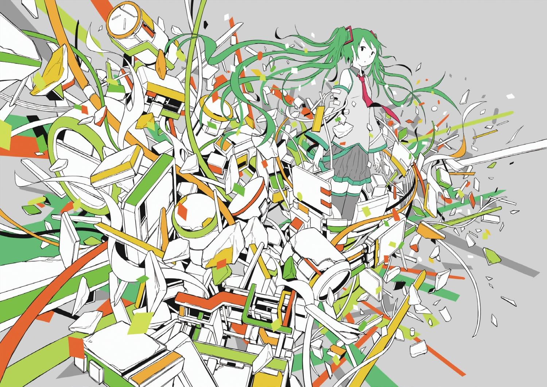 green_hair hatsune_miku hebitsukai tie vocaloid