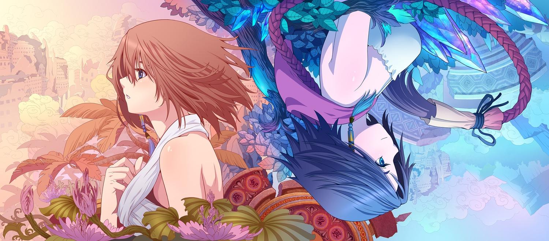 blue_eyes blue_hair brown_hair diamond_dust final_fantasy final_fantasy_x final_fantasy_x-2 flowers short_hair yuna_(ffx)