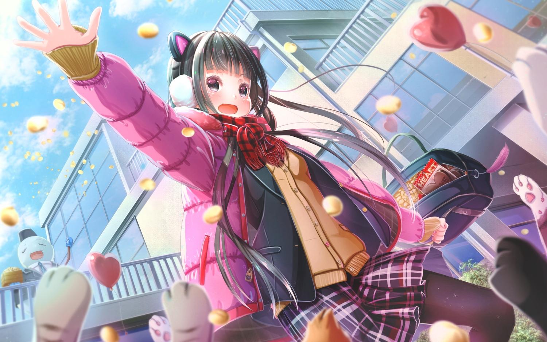 abo_(kawatasyunnnosukesabu) animal animal_ears black_eyes black_hair blush building cat headphones long_hair original pantyhose scarf school_uniform skirt