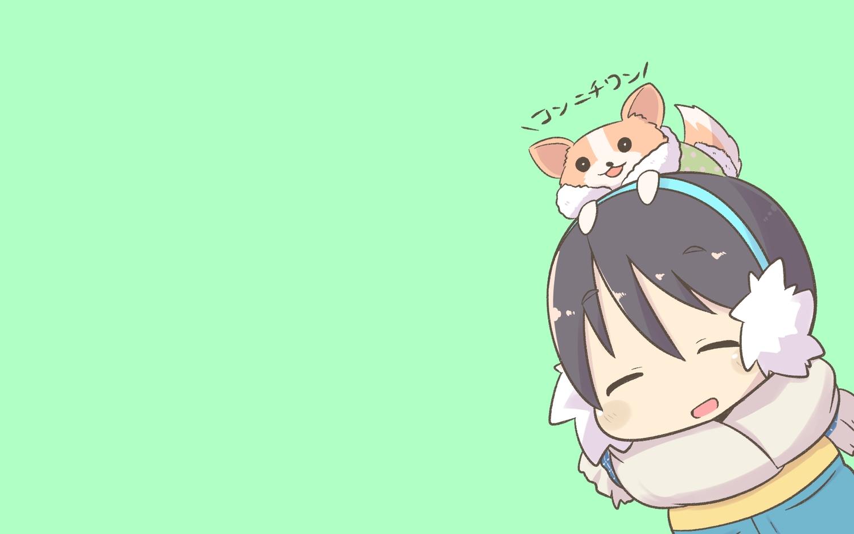 animal black_hair blush chibi dog earmuffs green inishie saitou_ena scarf short_hair translation_request yuru_camp