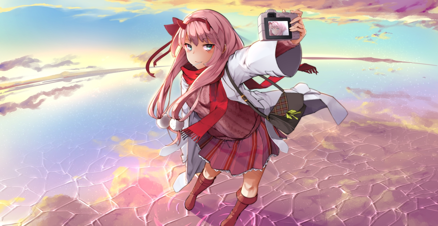 boots camera clouds darling_in_the_franxx green_eyes horns lavie long_hair pink_hair scarf skirt sky water zero_two