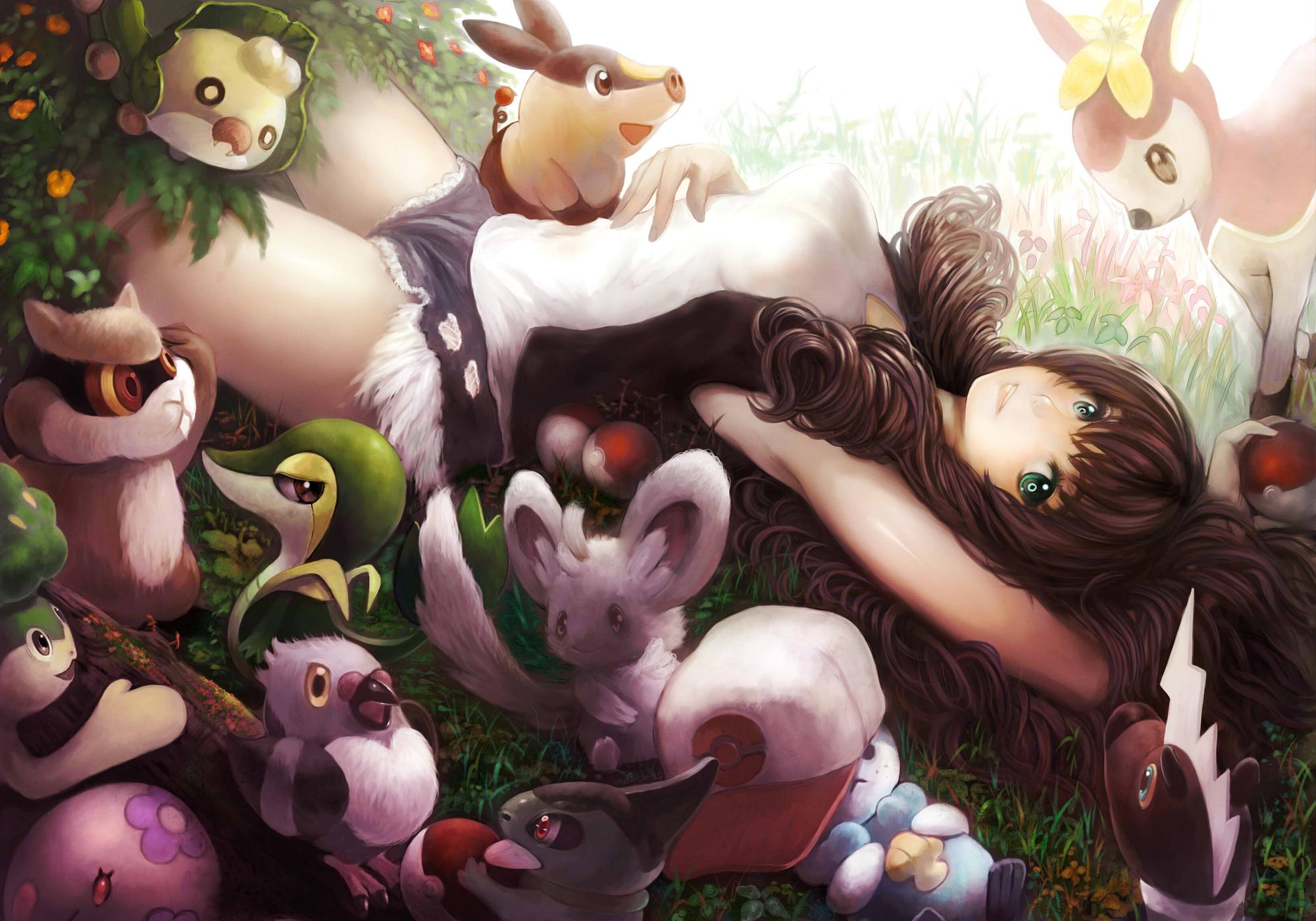 animal brown_hair flowers grass green_eyes hat pokemon shorts touko_(pokemon) tree yoshiku_(oden-usagi)