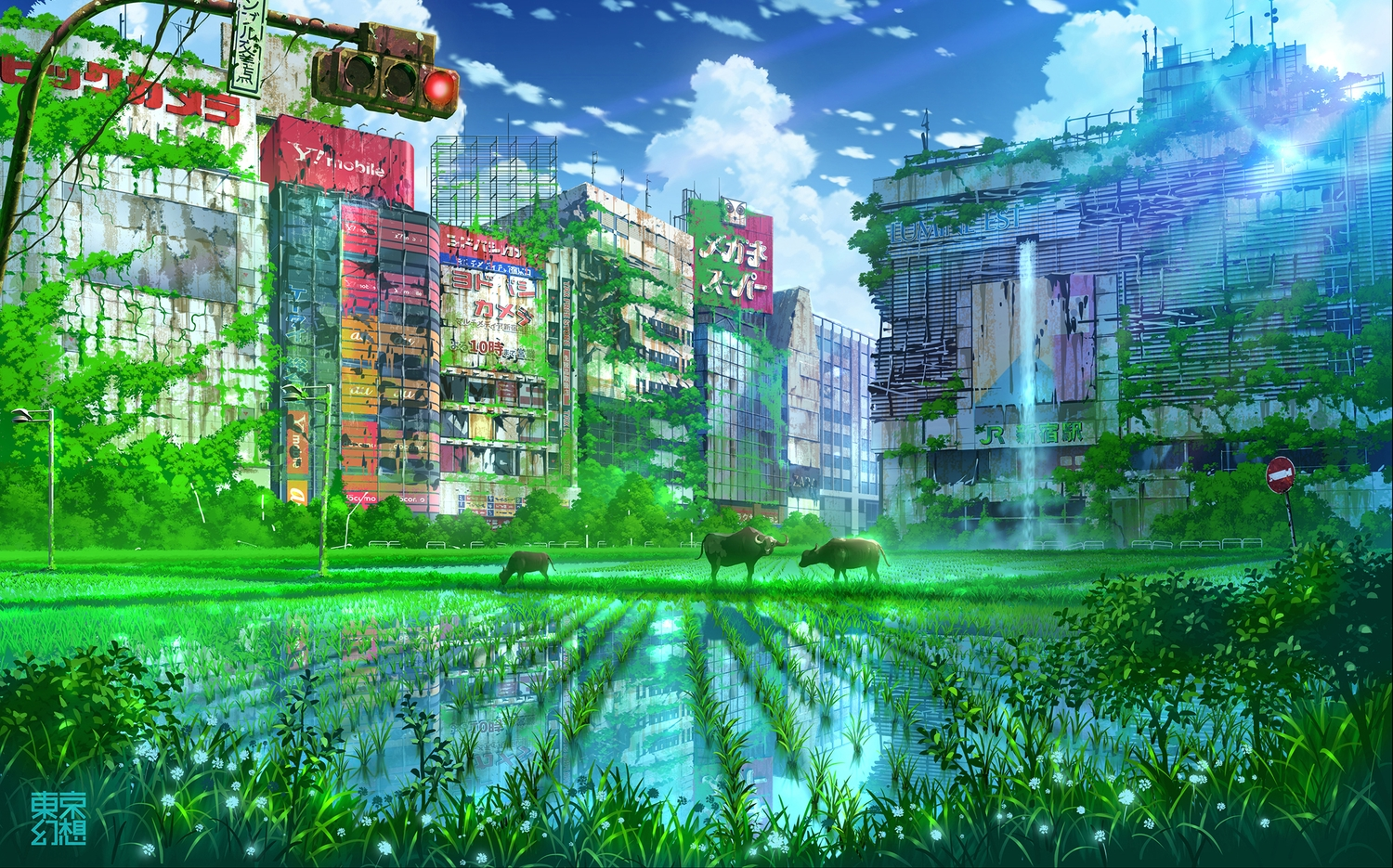 animal building city clouds original reflection ruins scenic sky tokyogenso water watermark