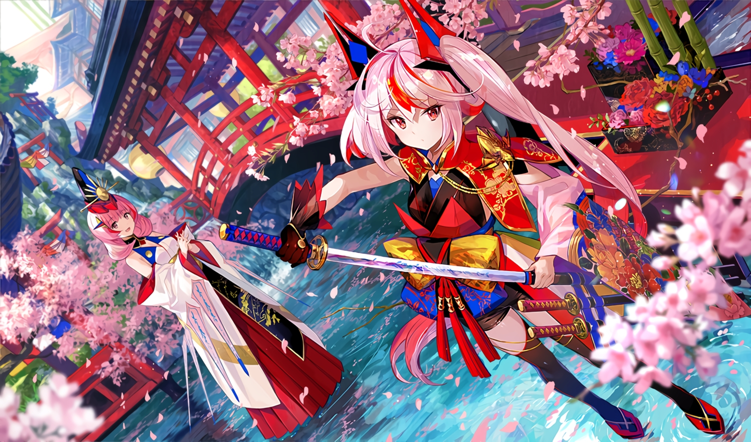 2girls building cherry_blossoms flowers fuji_choko japanese_clothes katana long_hair original pink_hair red_eyes sword thighhighs torii waifu2x water weapon